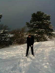 ma in de sneeuw